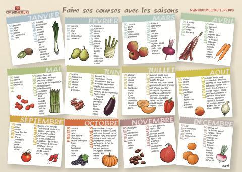Le calendrier des fruits et l gumes de saison bio consom 39 acteurs - Calendrier fruits et legumes de saison ...